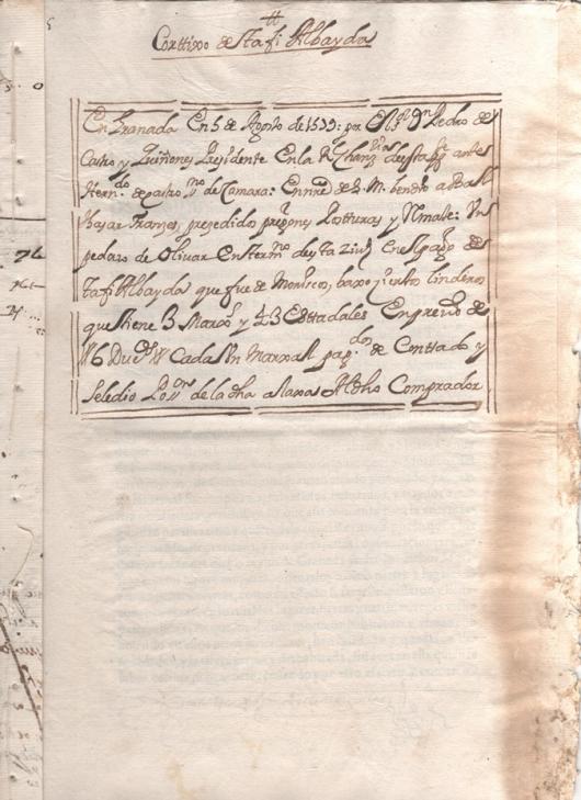 Escritura de venta de un pedazo de olivar que fue propiedad de moriscos de 3 marjales y 43 estadales