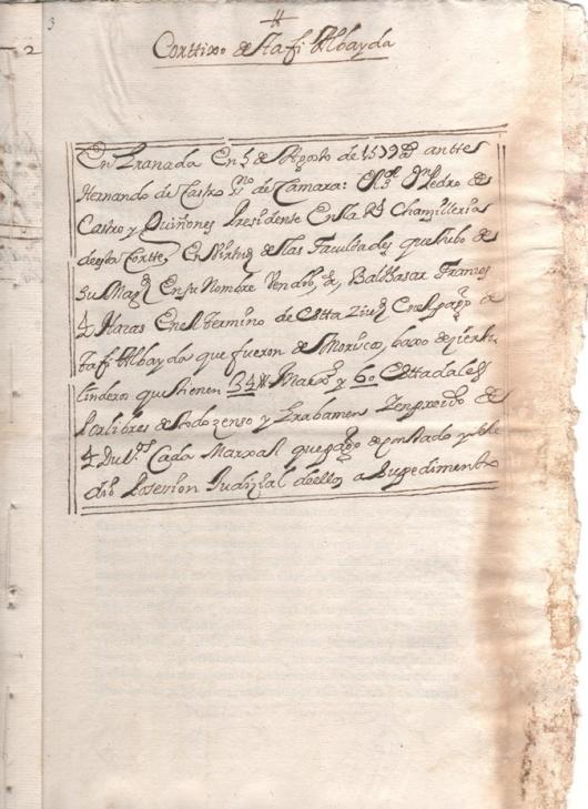 Escritura de venta de 4 aras en el término de Granada