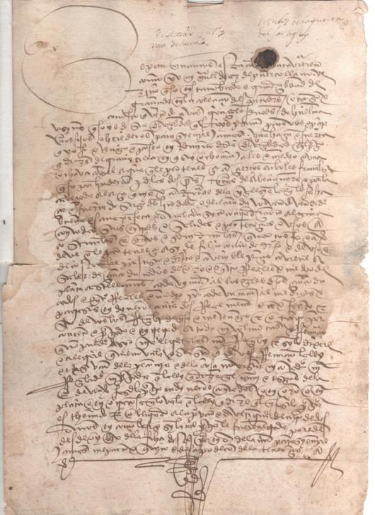 1506 - Escritura de venta de una haza y huerta de 8 marjales y medio y una ochava con árboles frutales