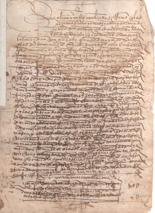 1520. Inscripción ejecutada por Francisca Díaz, mujer de Pedro Pérez