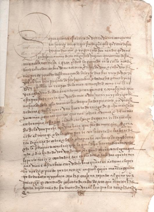 1526. Escritura de venta de una huerta de riego de 8 marjales, en el pago de la Garnatilla de Granada