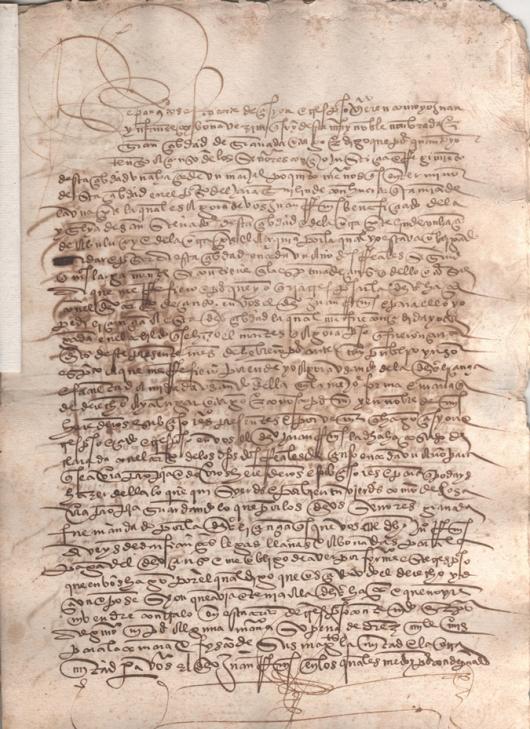 1527. Escritura de traspaso de un marjal poco mas de tierra de riego en el Faraquí