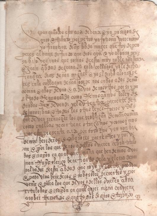 1530. Escritura de imposición de censo de 304 maravedíes y una gallina anual, sobre una casa sita en la parroquia de San José