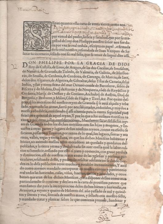 1575. Carta de venta otorgada por Pedro de Deça, presidente de la audiencia y cancillería de Granada