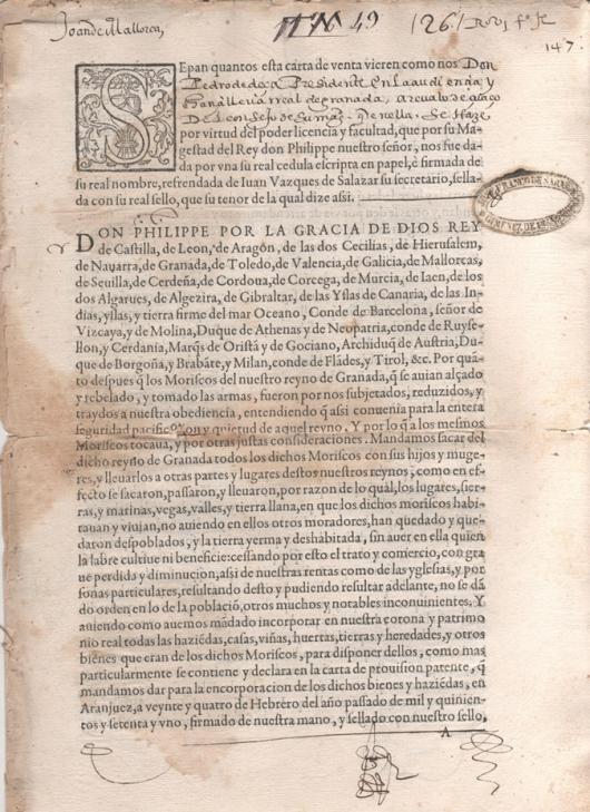 1576 - Carta de venta otorgada por D. Pedro de Deça, presidente de la Audiencia y Cancilleria de Granada