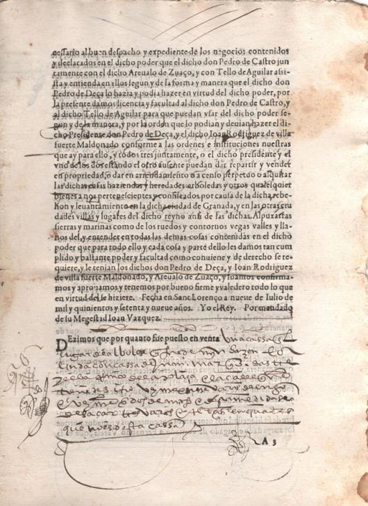 1580. Carta de venta otorgada por D. Pedro de Castro y Quiñones, representante de su Majestad en la Audiencia y Chancillería de Granada