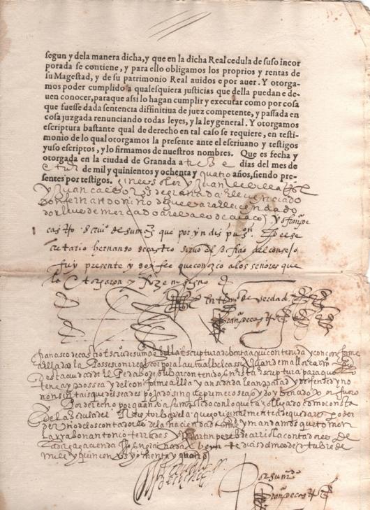 1584. Carta de venta otorgada por D. Fernando Niño de Guevara, de un pedazo de olivar en el lugar de Albolote