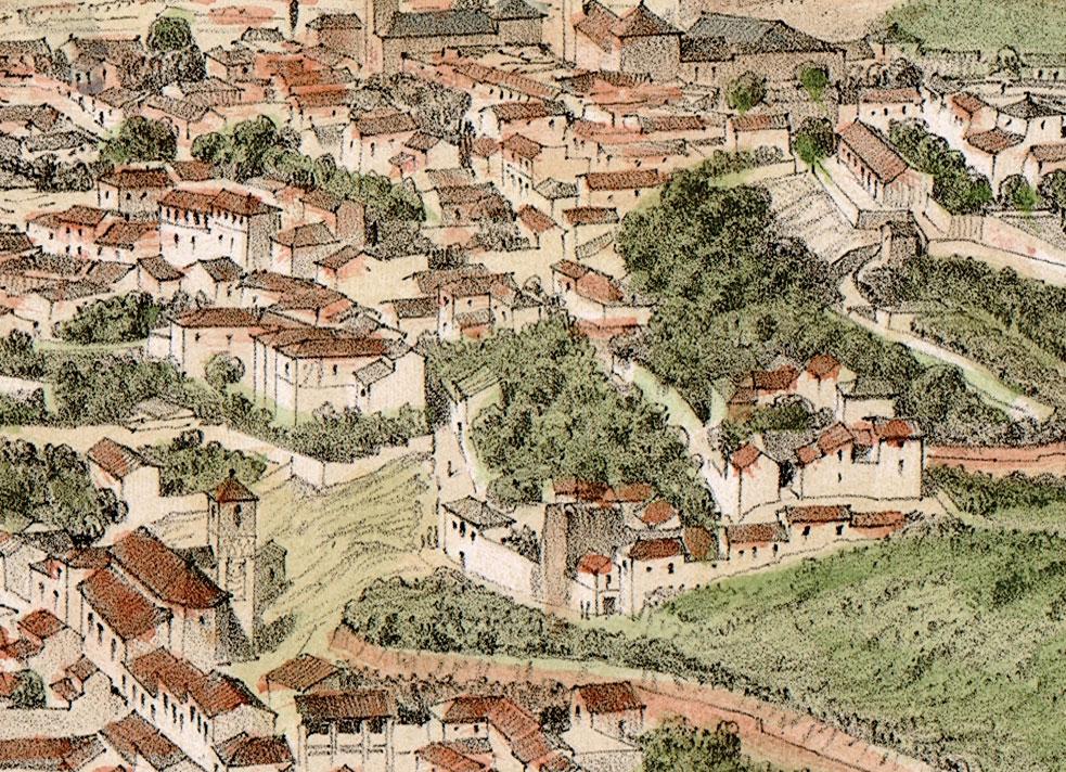 Detalle de 'Alhambra y Granada' de Alfred Guesdon (h 1855)