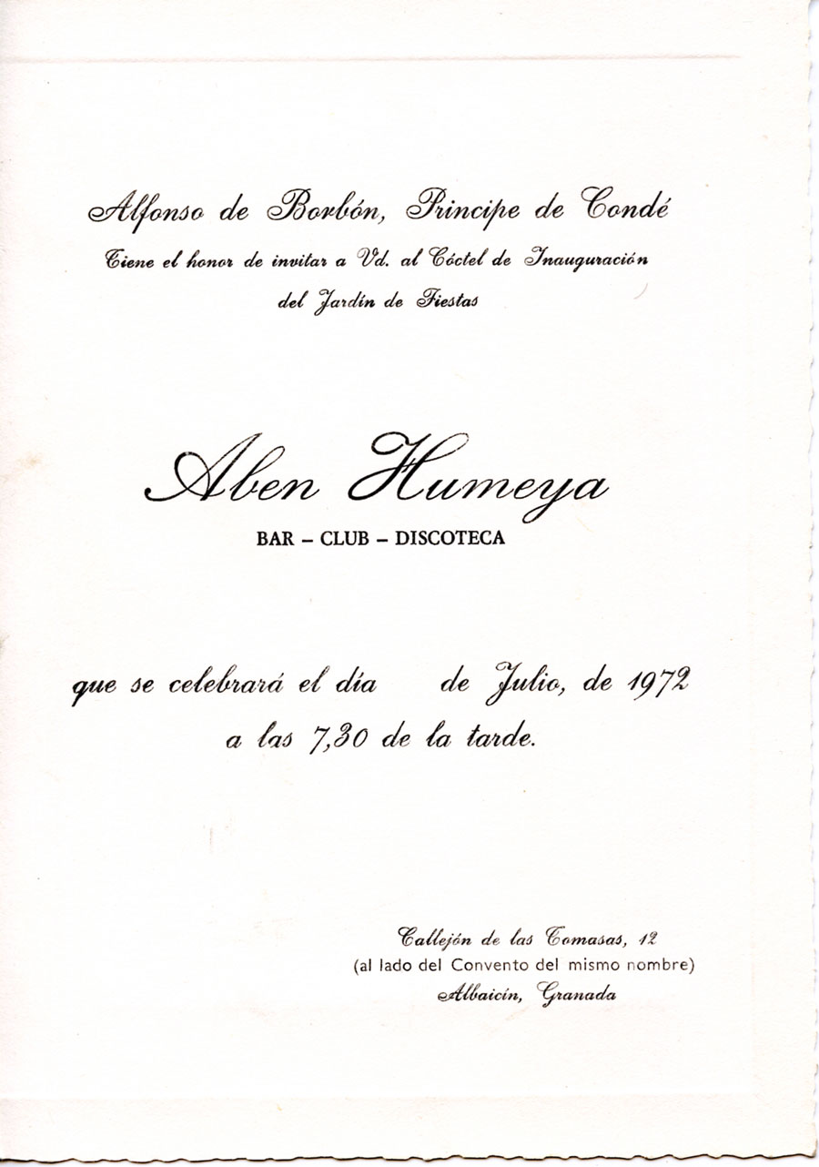 Invitación para la inauguración del bar-club en 1972