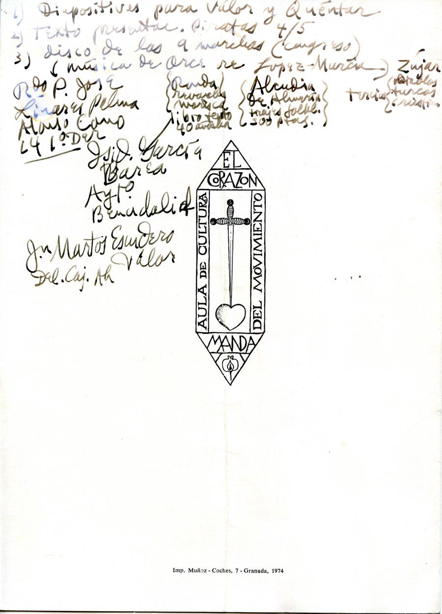 Documento del Congredo de Moros y Cristianos de 1974