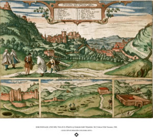 JORIS HOEFNAGEL (1542-1600). Vista de la Alhambra y Granada desde Valparaíso. Ed. Civitates Orbis Terrarum, 1564.