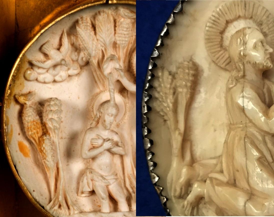 Comparativa de la vegetación en la semiesfera del Bautismo del Museo del Prado (izquierda) y la de La oración en Getsemaní (derecha)